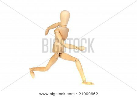 Jointed Wooden Mannequin Running