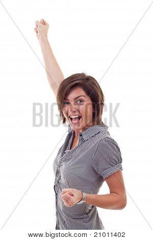Happy Business Woman Winning
