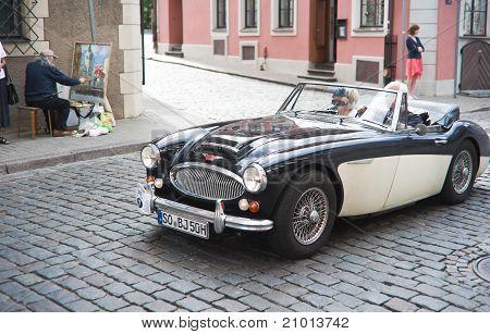 Vintage Car In Street Of Old Riga Center