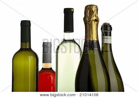 White And Rose Wine, Champagne, Prosecco Bottles