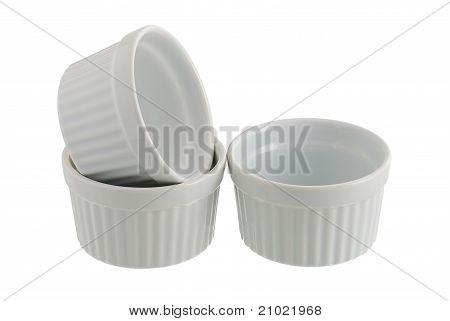 Three White Ceramic Individual Baking Pans