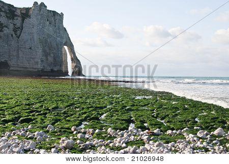 The Famous Cliffs At Etretat , France. Tide Sea