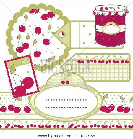 set of labels for cherry jam