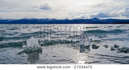 Ice-Break at Lake Laberge, Yukon Territory, Canada