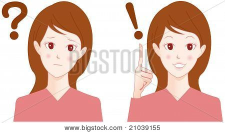 Confused Woman with question have idea Vector