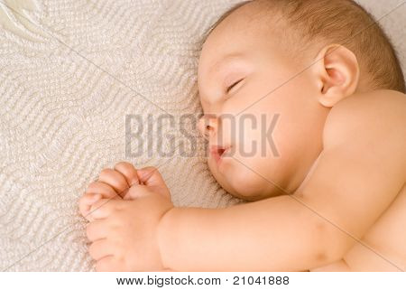 Nice Baby Sleep On A White