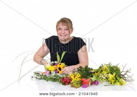 Young Girl Arranging Flowers