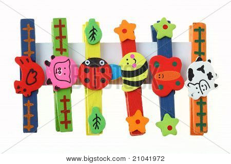Color Wood Animal Clip