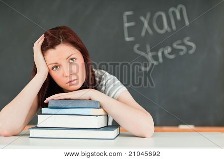 Beautilful Student Stressed By Her Examinations