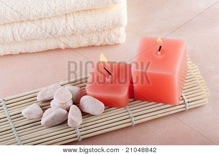Red Candles On Bamboo Mat