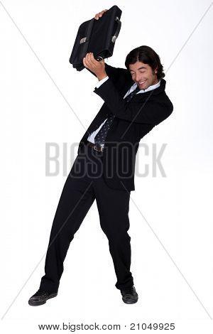man in suit dodging attack
