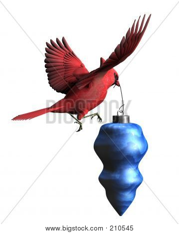 Cardinal Carrying Christmas Ornament