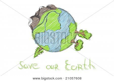 hand drawn cartoon earth on white background
