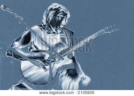 Blue Man Playing Guitar