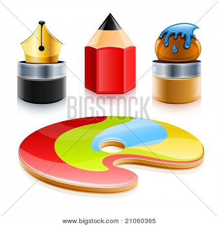 icons set of art tools pen pencil and brush vector illustration isolated on white background
