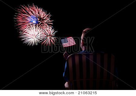 Man Watching Fireworks
