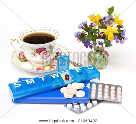 Pills, Teacup, Flowers