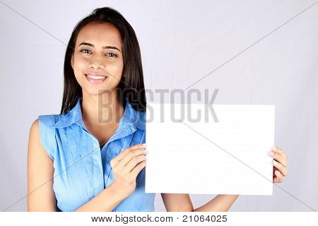 Young Business Woman Holding Empty White Board.