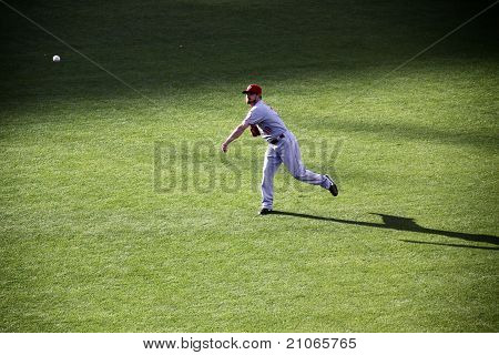 Baseball player in practice, Editorial Use Only
