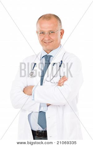 Mature Doctor Male With Stethoscope Professional