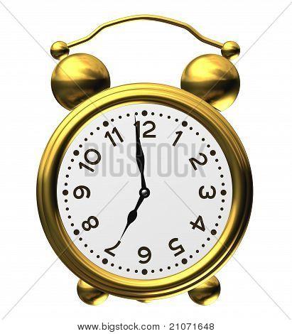 Classic Alarm Clock On White
