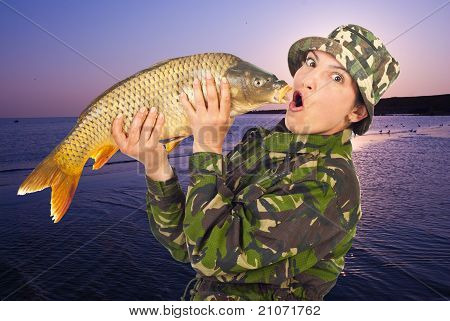 Funny Woman Angler Mimic Big Fish