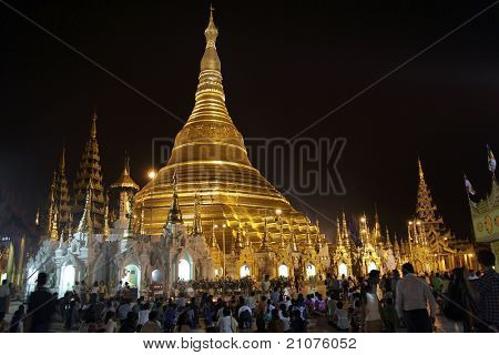 Shwedagon Pagoda at night, Yangon, Myanmar