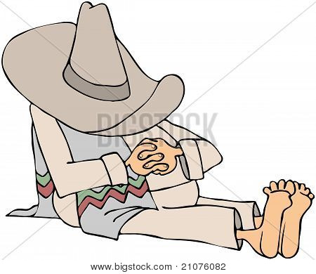 Man Wearing A Sombrero Taking A Siesta