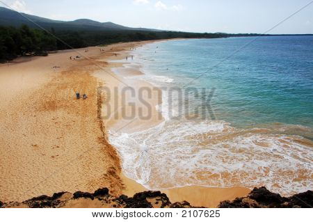 View Of A Long Beach On The Island Of Maui