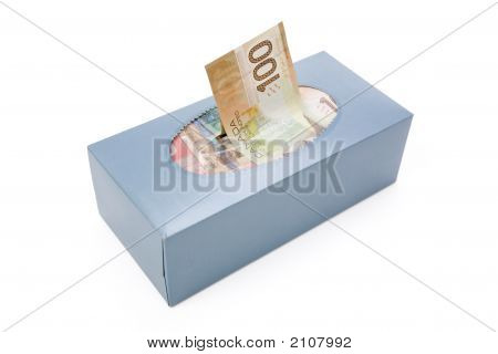 Canadian Dollars In A Tissue Box