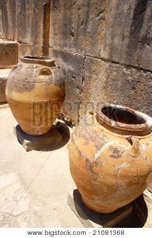 Ancient Minoan Jars At Phaistos Crete