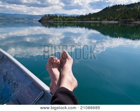 Relaxing on Lake Laberge, Yukon Territory, Canada