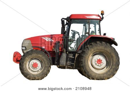 Isolated Red Tractor