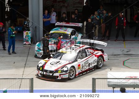 Team SG Changi exits pit at the Malaysian SuperGT race