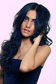 stock photo of black curly hair  - beautiful woman with long black curly hair - JPG