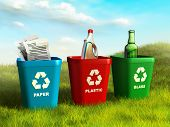 stock photo of recycling bin  - Colored trash bins used to recycle paper - JPG