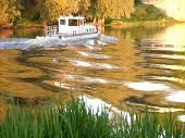 pic of flatboat  - ship on a golden river - JPG