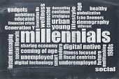 millennials generation word cloud on a vintage blackboard - demography concept poster