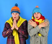 Men With Sad Faces On Blue Background. Siblings Are Cold poster