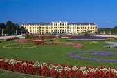 foto of sissi  - View of Schloss Schoenbrunn in Vienna Austria against a clear blue sky - JPG
