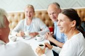 Group of senior companions sitting by table in cafe and having talk by cup of coffee poster