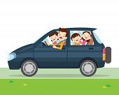 Family Car Simplified Illustration Of A Vehicle poster