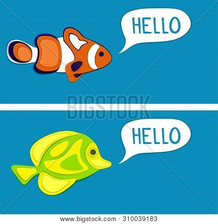 poster of Reef Fishes In Paper Art Style. Colorful Exotic Aquarium Fauna Vector Illustration. Marine Ecosystem