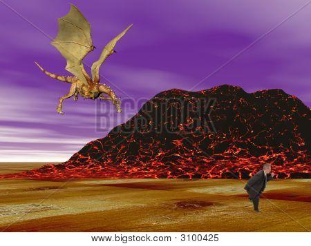 Dragon Chasing Businessman