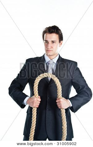 A man with a rope