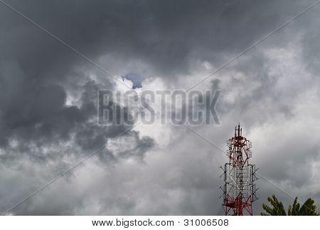 Radio Tower And Dark Cloud