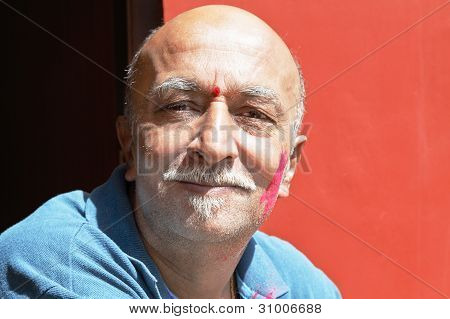 Facial Of Senior Indian Male Van Dike Beard