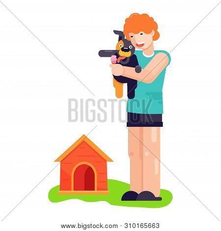 poster of Man Boy Play With Best Friend Pet Character Dog Or Puppy Illustration. Family Playing With Doggie An