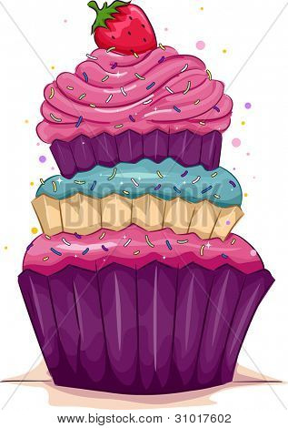 Illustration of a Multi-Layered Cupcake with a Strawberry on Top