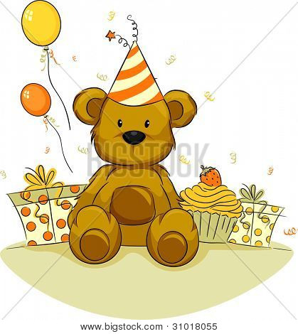 Illustration of a Toy Bear Celebrating its Birthday